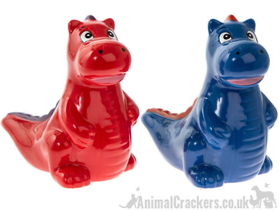 "7"" Dinosaur Money Box Piggy Bank Red Blue option Dinosaur lover stocking filler"