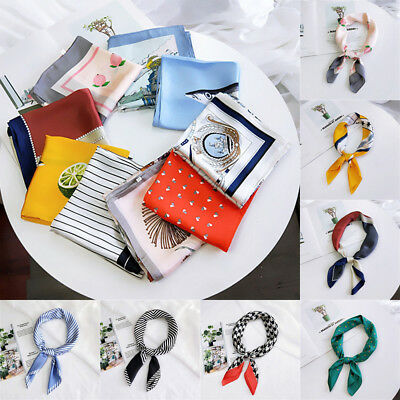 Women's Vintage Striped Silk Satin Square Scarf Neck Tie Hair Band Wristband..