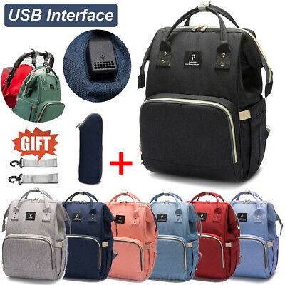 Mummy Multifunctional Baby Diaper Nappy USB Backpack Large Travel Changing Bag