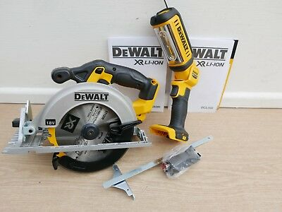 Dewalt Xr 18V Dcs391 Circular Saw Bare Unit + Fence & Adaptor + Dcl050 Worklight