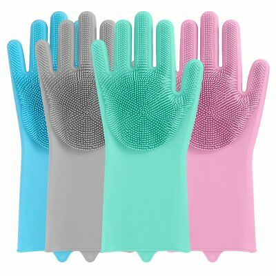 2x Magic Reusable Silicone Gloves Cleaning Brush Scrubber Gloves Heat Resistant