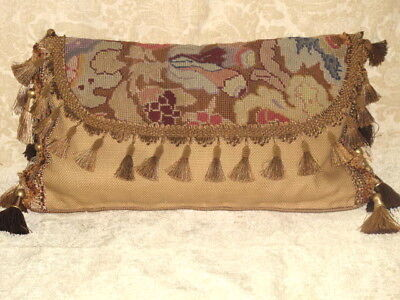 19Th Century Antique Needlepoint Envelope Lumbar Pillow #2