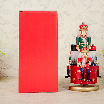 Wooden Hand Painted Nutcracker 4 Soldiers Toy Music Box Christmas Party Decor
