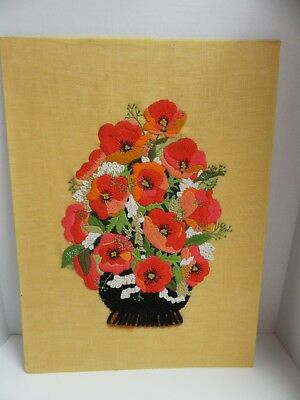 Finished Crewel Embroidery Floral Poppy Medley Completed Vintage 18x24