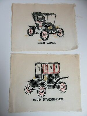 2 Finished Embroidery Old Fashioned Car Buick Studebaker Vehicles Completed