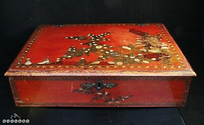 18th Century Regency Chinoiserie Lacquer & MOP Writing Box + Pots