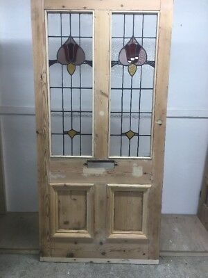 Grand Large Stained Glass Victorian Front Door Period Old Reclaimed Antique