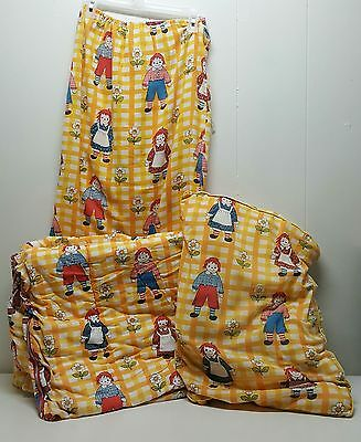 Raggedy Anne Andy Sleeping Bag Pillow Blanket Yellow Plaid Vintage Drawstring