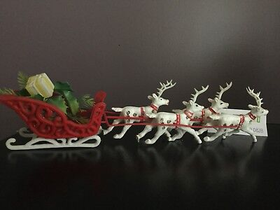 "Vtg 13"" Red Plastic Sleigh 4 White Reindeer Christmas Decoration No Santa"