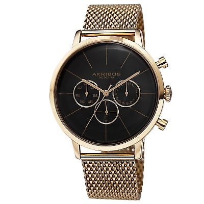 Akribos XXIV Men's Sunray Dial Multifunction Stainless Steel Mesh Gold-Tone