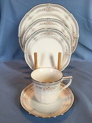Noritake Rothschild # 7293 EUC 5 Piece Place Setting Platinum Rim