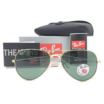 New Ray-Ban RB3025 001/58 Gold Aviator Sunglasses Green Polarized Lens 55mm 58mm