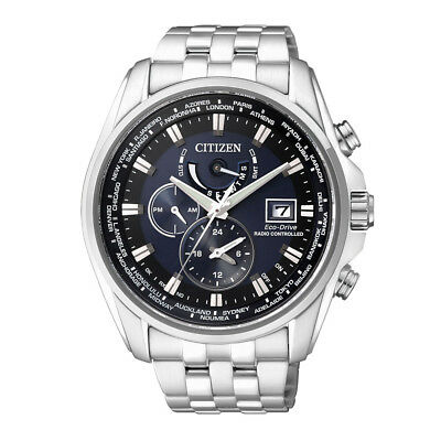 Citizen Solar Eco-Drive Herrenuhr Armbanduhr Funkuhr Edelstahl AT9030-55L