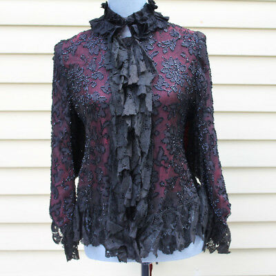Antique Victorian Black Lace and Red Silk Beaded Jacket