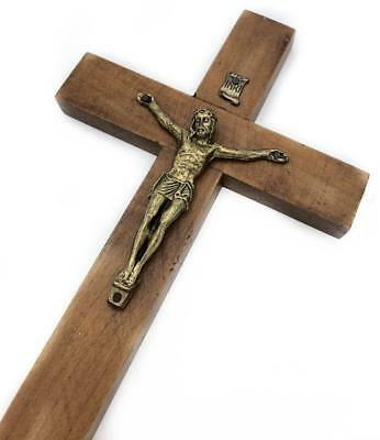 "Wall Cross Wooden Metal Crucifix Holy Religious Carved Christ Brown 8""  Vintage"