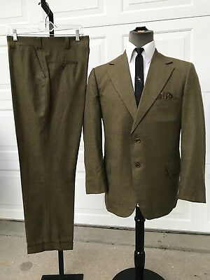 Vintage 50's Mens Suit Olive Green Plaid 44R 38x29 Mint Condition Tapered Leg