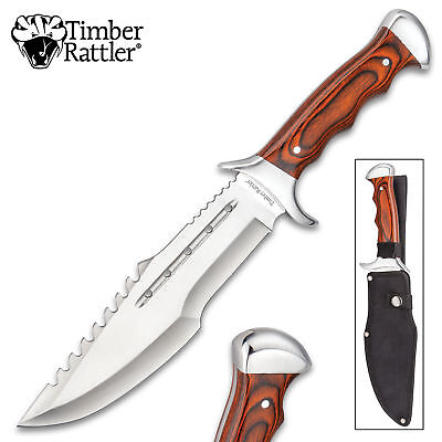 "14"" Grizzly Wood Hunting Skinning Survival Fixed Blade Full Tang Knife Bowie"