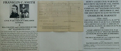 CIVIL WAR GENERAL WIA KENNESAW COLONEL 102nd  ILLINOIS INFANTRY DOCUMENT SIGNED!