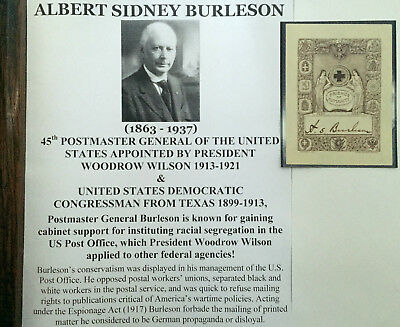President Wilson Postmaster General Congressman Texas Bookplate Document Signed!