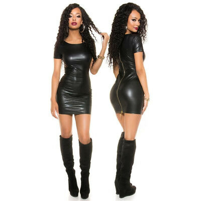 Sexy Hot Mini Abito Minidress Party Ecopelle Wetlook Faux Leather Tg Unica S/M