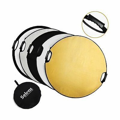 Selens 5-in-1 43 Inch (110cm) Portable Handle Round Reflector Collapsible Mul...