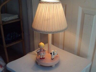 """Vintage Baby/child """"mary Had A Little Lamb"""" Lamp W/ Shade"""