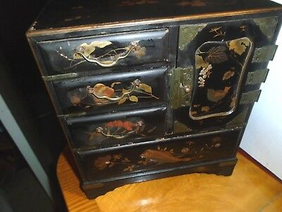 Antique Japanese Black Lacquered Table Cabinet