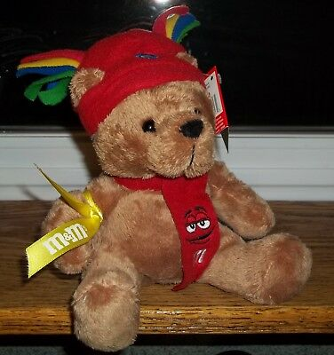 M&M's CANDY NOVELTY Plush Brown Bear RED Hat & Scarf GALERIE