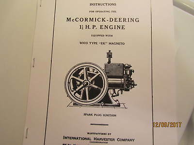 1931 McCormick Deering 1 1/2 HP Engine Operating Instructions Manual with EK mag