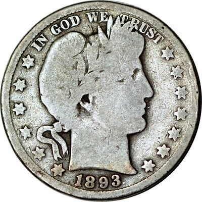 1893-S 50C Barber Half Dollar Good  K5388