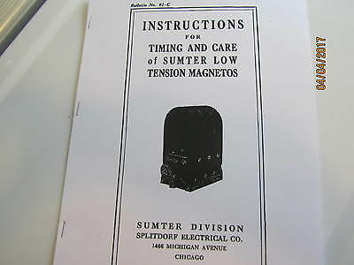 Sumter Splitdorf Magneto Instructions, Care and Operation  for low tension mags