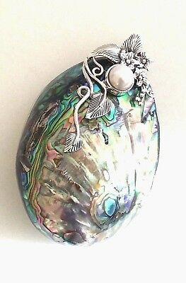 Vintage 925 Sterling Silver Statement Paua Abalone Shell Mother Of Pearl Pendant