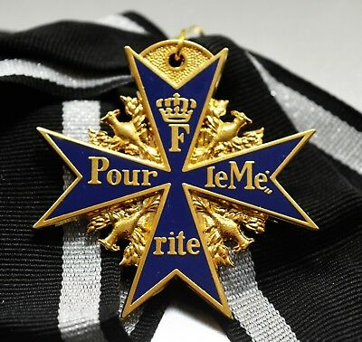 Full Size 24ct Gold Plate Pour Le Merite Medal & Ribbon Germany/Prussia WW1 WW2