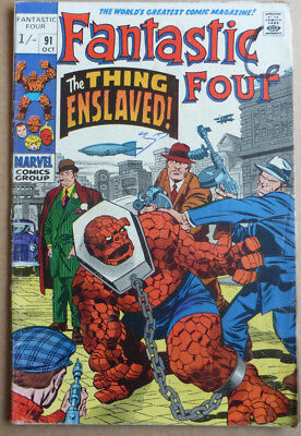 Fantastic Four #91, Classic Silver Age With Great 'the Thing' Cover.