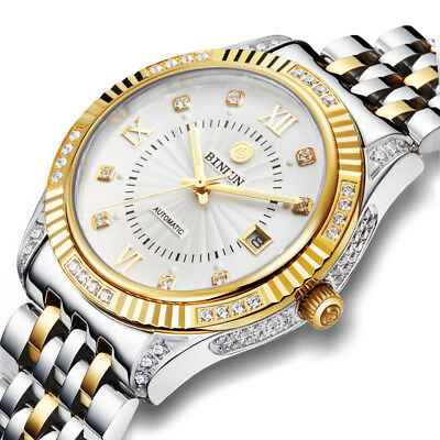 Men's 18K Gold and Silver Plated  Stainless Steel Automatic Mechanical Watch