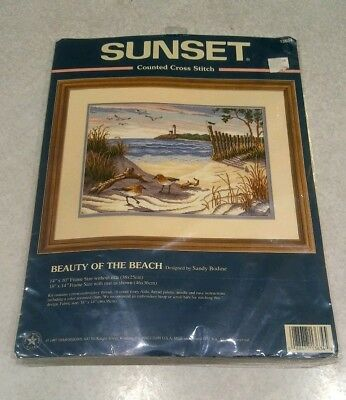 Sunset Beauty of the Beach Cross Stitch Kit 13634  NIP Unopened 1997