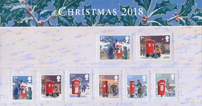GB 2018 Christmas u/m mnh set of stamps x 8 in presentation pack Post Boxes snow