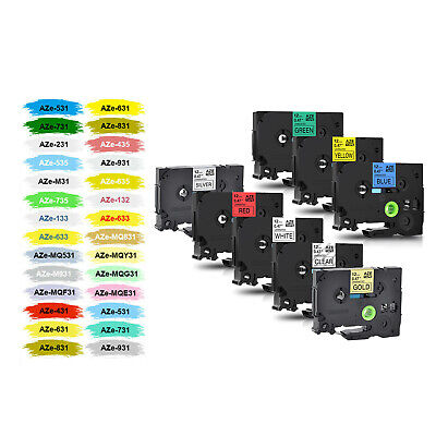 Compatible TZ TZe Label Tape for Brother P-Touch 6/9/12/18/24/36MM all Colors