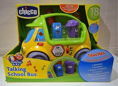 Chicco Electronic Educational Toy Talking School Bus Teaches French + English