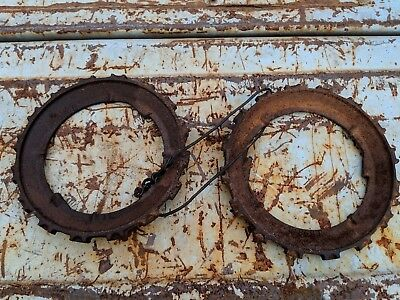 * Vintage Pair Cast Iron Farm Seeder - Perfect for Re-Purposing - Steampunk