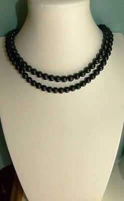 Jewellery Nice Double Strand Of Black Glass Ball Beads Necklace 208