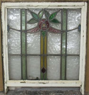 "EDWARDIAN ENGLISH LEADED STAINED GLASS SASH WINDOW Floral Sweep 22.25"" x 22.25"""