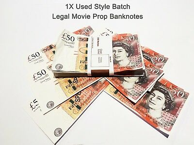 50 Pounds, Prop Realistic Fake Pounds Banknotes Fake Money GBP, Used Style 1PCS