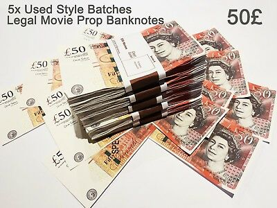 50 Pounds, Prop Realistic Fake Pounds Banknotes Fake Money GBP, Used Style 5PCS