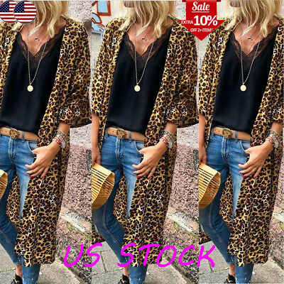 US Women Ladies Teddy Bear Leopard Cardigan Open Front Duster Coat Jacket Tops Clothing, Shoes & Accessories Coats, Jackets & Vests