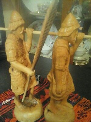 1920s Antique Asian Carved wood  soliders or hunters** Unusual Deco   Free SHIP