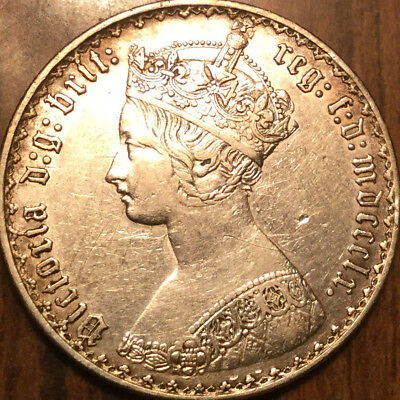 1860 Uk Gb Great Britain Silver Victoria Gothic Florin