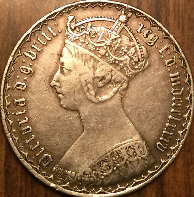 1885 Uk Gb Great Britain Silver Victoria Gothic Florin