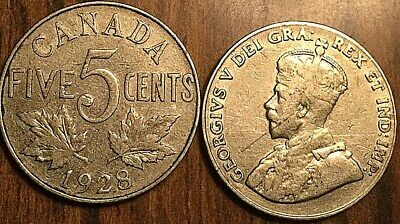 1928 Canada 5 Cents Coin G+ Buy 1 Or More Its Free Shipping!