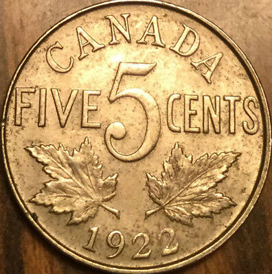 1922 CANADA 5 CENTS COIN KING GEORGE V - Superb example!